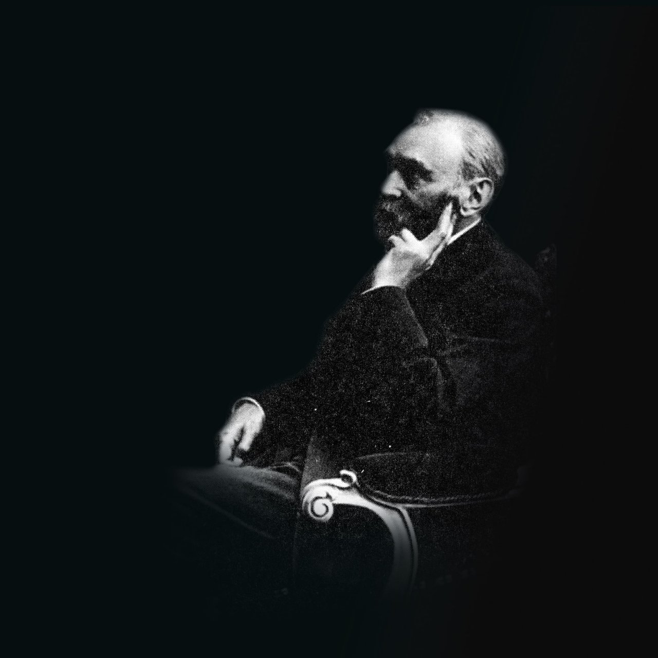 A black and white picture of Alfred Nobel