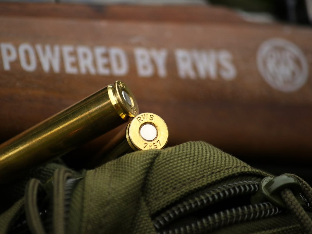 RWS rifle cartridge calibre 7x57 in lying position