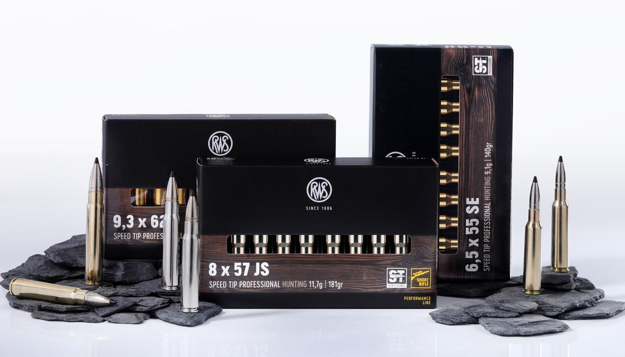 Illustration of three packages of the SPEED TIP PROFESSIONAL ammunition family in the calibers 9,3 x 62, 6,5 x55 SE and 8 x 57 JS Short Rifle