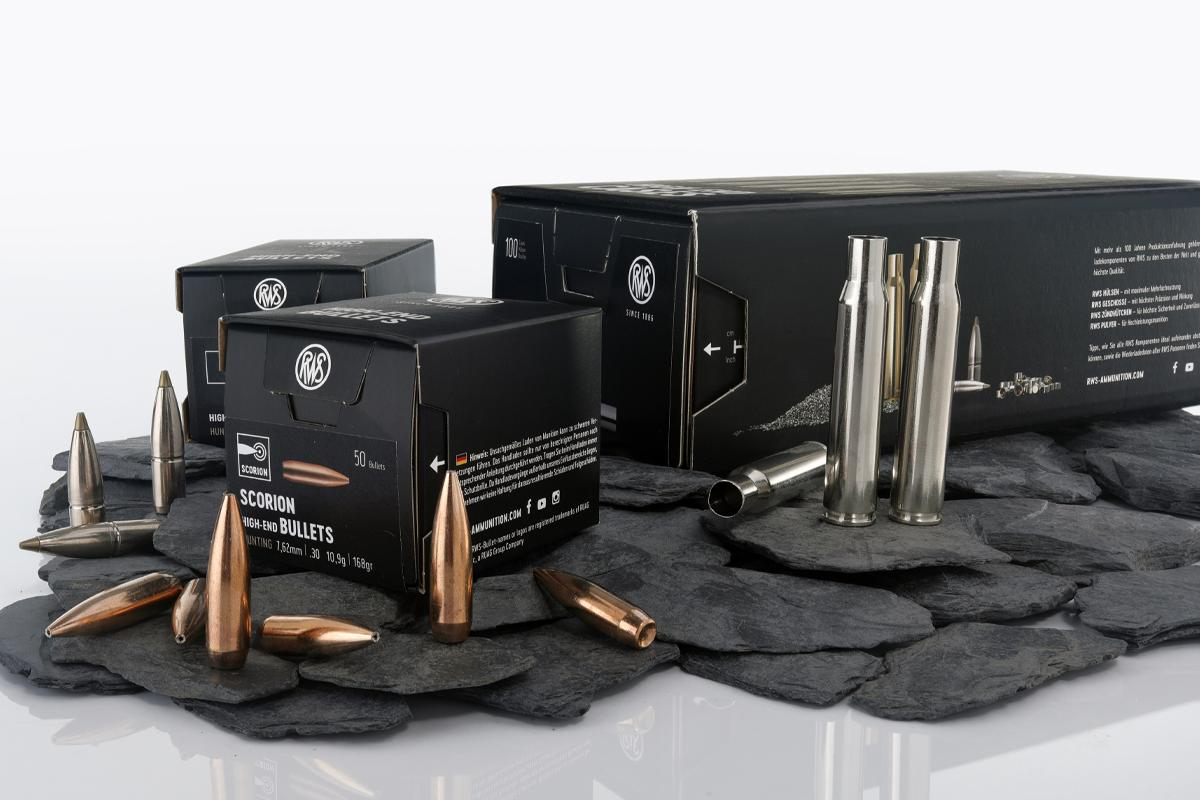 A selection of bullets and sleeves from our RWS reloading programm