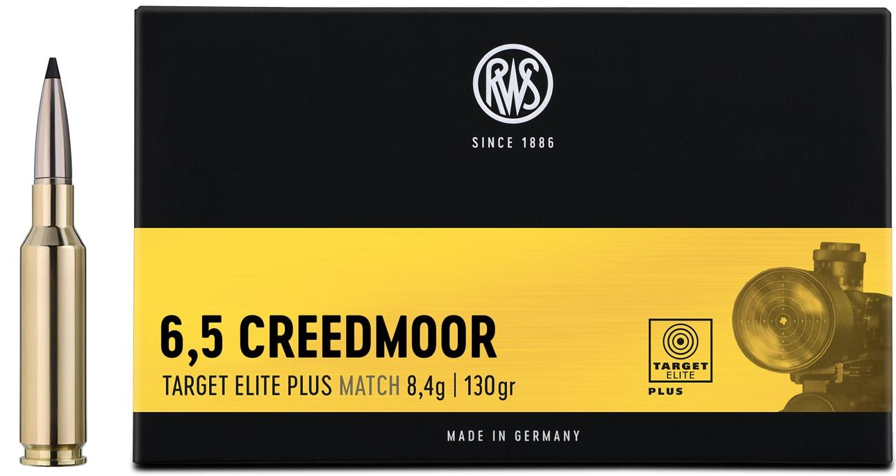 Packaging of the RWS 6,5 Creedmoor Target Elite Plus together with a rifle cartridge