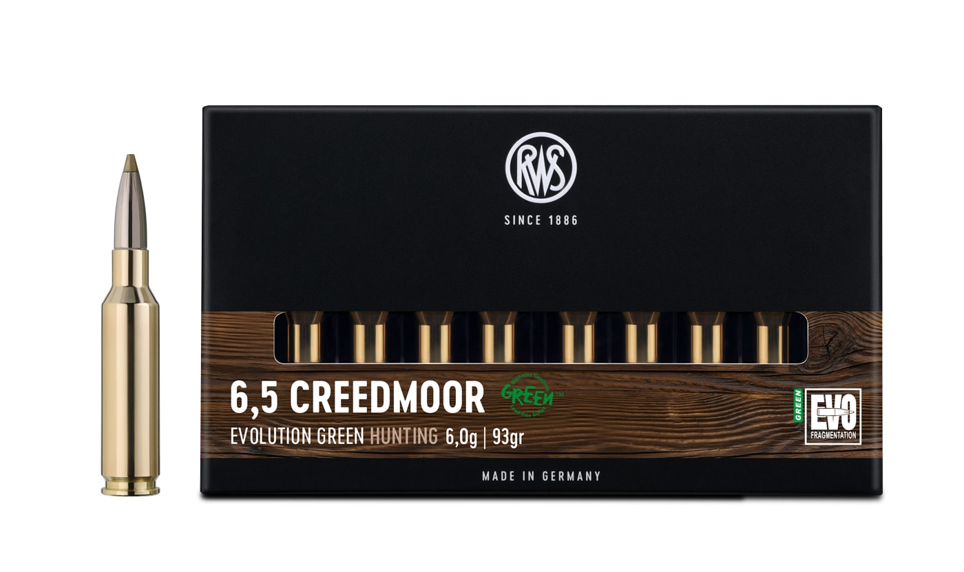 Packaging of the RWS 6,5 Creedmoor EVOLUTION GREEN together with a rifle cartridge